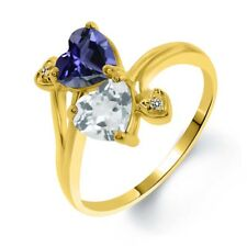 1.56 Ct Blue Iolite Sky Blue Topaz 18K Yellow Gold Plated Silver Ring