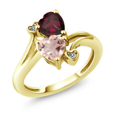 1.45 Ct Rose Rose Quartz Red Rhodolite Garnet 18K Yellow Gold Plated Silver Ring