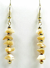 Mother of Pearl Gold Plated Gemstone Drop Earrings Pierced Hooks or Studs