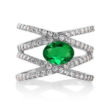1.93 Ct Oval Green Simulated Emerald 925 Sterling Silver Ring