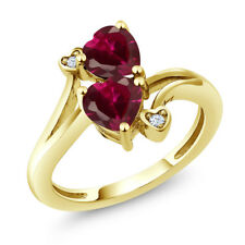 1.95 Ct Heart Shape Red Created Ruby 18K Yellow Gold Plated Silver Ring