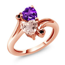 1.38 Ct Rose Rose Quartz Purple Amethyst 18K Rose Gold Plated Silver Ring