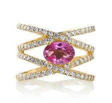2.23 Ct Oval Pink Mystic Topaz 18K Yellow Gold Plated Silver Criss Cross Ring
