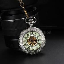 Women Mens Hollow Skeleton Mechanical Pocket Watch Luminous Roman Steampunk D48M