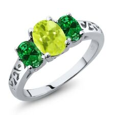 1.80 Ct Oval Yellow Lemon Quartz Green Simulated Emerald 18K White Gold Ring