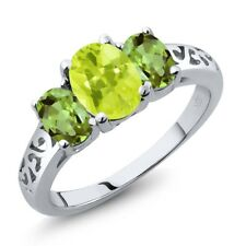 2.10 Ct Oval Yellow Lemon Quartz Green Peridot 14K White Gold Ring