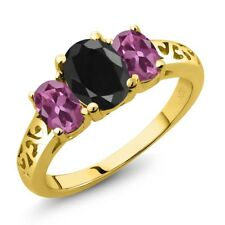 2.66 Ct Oval Black Sapphire Pink Tourmaline 18K Yellow Gold Plated Silver Ring