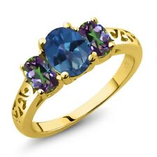 2.30 Ct Oval Royal Blue Mystic Topaz Green Mystic Topaz 18K Yellow Gold Ring