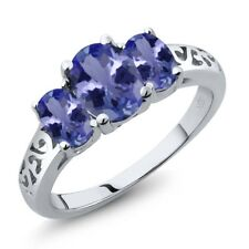 2.06 Ct Oval Blue Tanzanite 925 Sterling Silver Ring