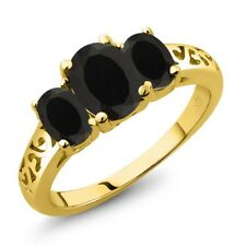 2.03 Ct Oval Black Onyx 18K Yellow Gold Plated Silver Ring