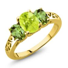2.10 Ct Oval Yellow Lemon Quartz Green Peridot 14K Yellow Gold Ring