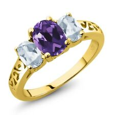 2.00 Ct Oval Purple Amethyst Sky Blue Topaz 18K Yellow Gold Plated Silver Ring