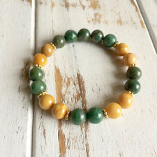 Genuine Yellow Jasper & African Jade Bracelet w/ Gold Filled Daisies ~ Patience