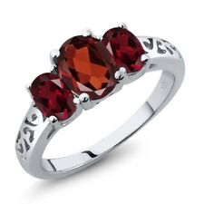 2.20 Ct Oval Red Garnet Red Rhodolite Garnet 14K White Gold Ring