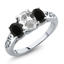 2.08 Ct Oval White Topaz Black Onyx 18K White Gold Ring