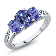 2.20 Ct Oval Purple Blue Mystic Topaz and Blue Tanzanite 18K White Gold Ring