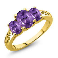 1.70 Ct Oval Purple Amethyst 18K Yellow Gold Plated Silver Ring