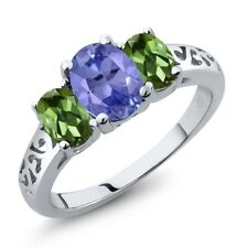 2.16 Ct Oval Blue Tanzanite Green Tourmaline 925 Sterling Silver Ring