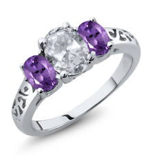 2.00 Ct Oval White Topaz Purple Amethyst 925 Sterling Silver Ring