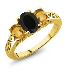 2.05 Ct Oval Black Onyx Yellow Citrine 18K Yellow Gold Plated Silver Ring