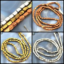 "5x2mm Color Faceted Tube Brass Beads 24"",Silver,Gold, Copper,pick your color"