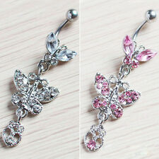 Crystal Butterfly Dangle Ball Barbell Belly Button Navel Ring Body Piercing r27