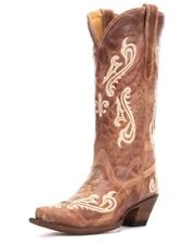 Corral Ladies Snip Toe Cowboy Western Boots Brown Cortez Cleff Embroidery R1974