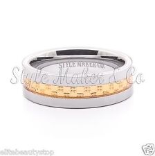 Tungsten Carbide Ring Men's Wedding Band Gold Steel Inlaid Size 7-13