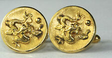 1970'S VINTAGE 14K GOLD CHINESE DRAGON CUFFLINKS 12.6 GRAMS