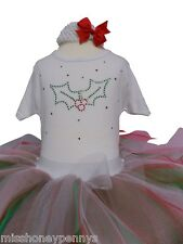 Christmas Baby Toddler XMAS Tutu Skirt 80s Fancy Dress Holly Rhinestone Costume