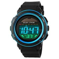 Man Woman Solar Powered Digital Chronograph Alarm Backlight Wrist Watch K8QD