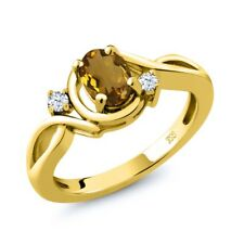 0.78 Ct Oval Whiskey Quartz White Topaz 14K Yellow Gold Ring