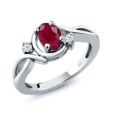 1.10 Ct Oval Red Ruby White Topaz 925 Sterling Silver Ring