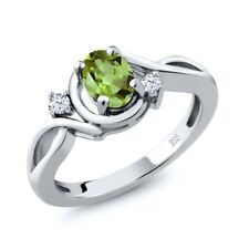0.88 Ct Oval Green Peridot White Topaz 925 Sterling Silver Ring