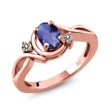 0.72 Ct Oval Checkerboard Blue Iolite White Diamond 14K Rose Gold Ring