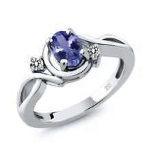0.82 Ct Oval Blue Tanzanite AAAA White Diamond 925 Sterling Silver Ring