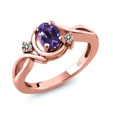 0.82 Ct Oval Purple Amethyst White Diamond 18K Rose Gold Plated Silver Ring