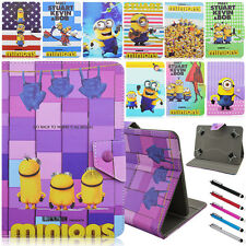 "Minions Stand Leather Folio Flip Buckle Cover Case For Samsung Galaxy 10"" Tablet"