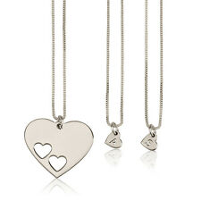 Sterling Silver Mother Daughter Necklace Set Engraved Initial Hearts for Sisters