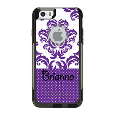 Monogram OtterBox Commuter for iPhone 5S 6 6S Plus Purple White Damask Dots