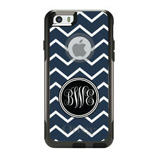 Monogram OtterBox Commuter for iPhone 5S 6 6S Plus Navy Blue White Chevron