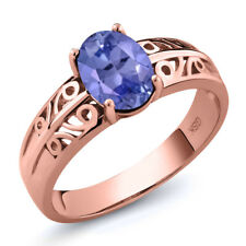 1.16 Ct Oval Blue Tanzanite 18K Rose Gold Ring
