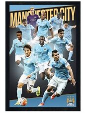Manchester City FC Black Wooden Framed Players 2015/16 MCFC Poster 61x91.5cm
