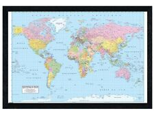 New Black Wooden Framed Educational Map French Map of the World Poster
