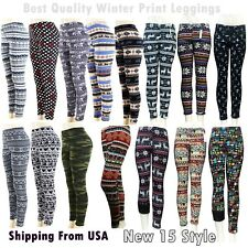 Women Winter Pattern Print Colorful Leggins Stretchy Soft Leggings Warm One Size