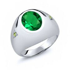 4.10 Ct Oval Green Simulated Emerald Green Peridot 14K White Gold Men's Ring
