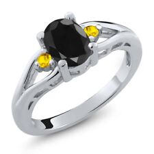 1.76 Ct Oval Black Sapphire Yellow Sapphire 925 Sterling Silver Ring