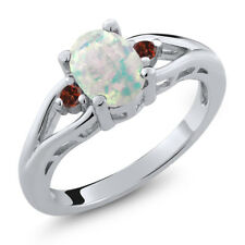 1.13 Ct Oval Cabochon White Simulated Opal Red Garnet 925 Sterling Silver Ring