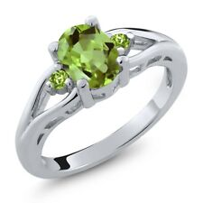 1.43 Ct Oval Green Peridot 925 Sterling Silver Ring