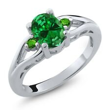 2.18 Ct Oval Green Simulated Emerald Green Tsavorite 925 Sterling Silver Ring
